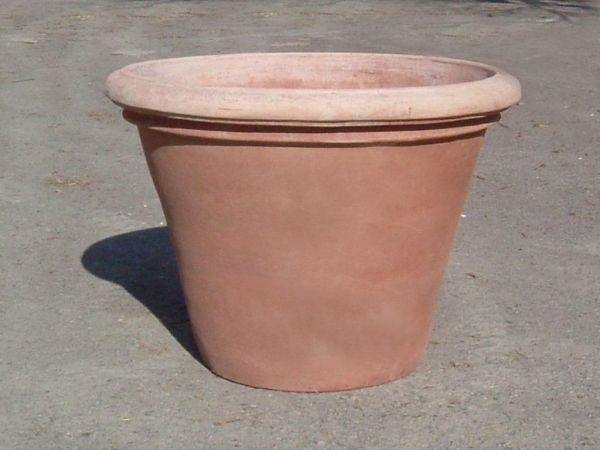 Impruneta Terracotta - Vaso Liscio -schlichter Terracotta Topf, rund, Rand abgerundet