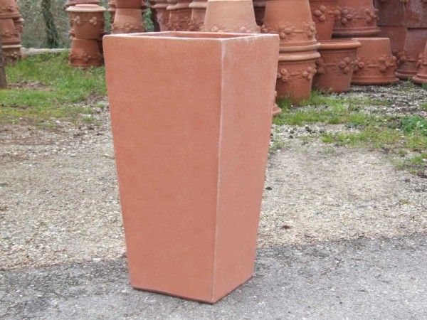 Impruneta Terracotta - Vaso Siena - schlichter Terracotta Topf, eckig, quadratisch